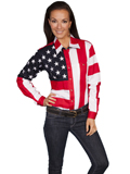 [Scully Ladies Patriot Embroidered Star Flag Shirt]