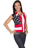 [Scully Ladies Patriot Embroidered Star Flag Sleeveless Shirt]