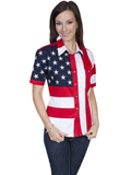 [Scully Ladies Patriot Embroidered Star Flag Short Sleeve Shirt]