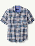 [Tommy Bahama� Men's Caldera Plaid Linen Camp Shirt]