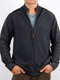 [Zenfari� Men's Troy Waffle Full Zip Cotton Sweater]