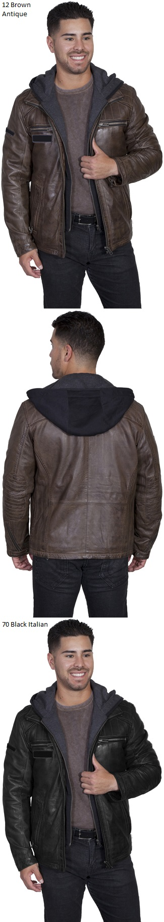 Men's Lamb Leather Jacket with Zip Out Front and Hood Insert