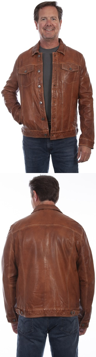 Washed Lamb Leather Jean Jacket