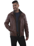 [Mens Scully Men's Hand Finished Lamb Jacket with Quilted Front Inset]