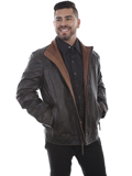 [Mens Scully Washed Lamb Two Toned Collar Leather Jacket]