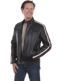 [Mens Scully Lamb Leather Striped Motorcycle Jacket]