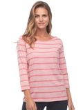 [FDJ French Dressing® Fancy Neckline Sporty Stripe 3/4 Sleeve Top]