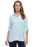 [FDJ French Dressing� Hazy Stripe Tab Up Sleeve Blouse]