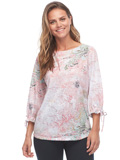 [FDJ French Dressing® Abstract Pastel Print 3/4 Fancy Sleeve Top]
