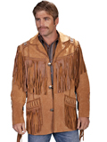 [Scully Mens - Men's Handlaced and Beaded Boar Suede Native American Fringe Jacket]