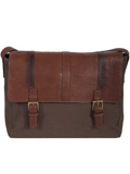 [Scully Santa Fe Collection Kalahari Leather and Canvas Messenger Bag]