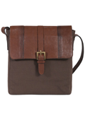 [Scully Santa Fe Collection Kalahari Leather and Canvas Crossbody Bag]