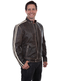 [Mens Scully Men's Sanded Calf Leather Track Racing Jacket]