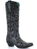 [Corral Boots Full Inlay and Studs Black Western Boot]