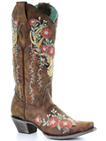 [Corral Boots Deer Overlay and Floral Embroidery Boot]