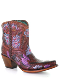 [Corral Boots Floral Tooled Ankle Honey Leather Boot]