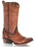 [Corral Boots Distressed Honey Leather Studs and Zipper Boot]