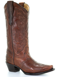 [Corral Boots LD Burn Brown Embroidered Leather Western Boot]
