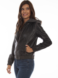 [Scully  Women's Vintage Lamb Leather Jacket with Front and Hood Insert]