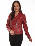 [Scully  Ladies Lamb Leather Motorcycle Jacket]