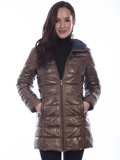 [Scully  Ladies Lamb Leather Ribbed Coat]