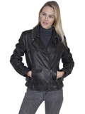 [Scully  Ladies Leather Motorcycle Jacket]
