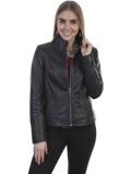 [Scully  Ladies Lamb Zip Front Leather Jacket]