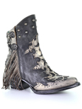 [Corral Boots Distressed Leather and Hair Calf Bootie]